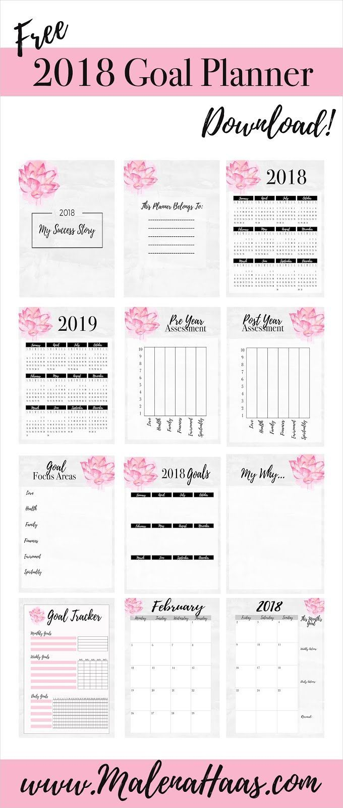 Ultimate 2018 Goal Planning Inserts For Planner Download in Pink and Grey