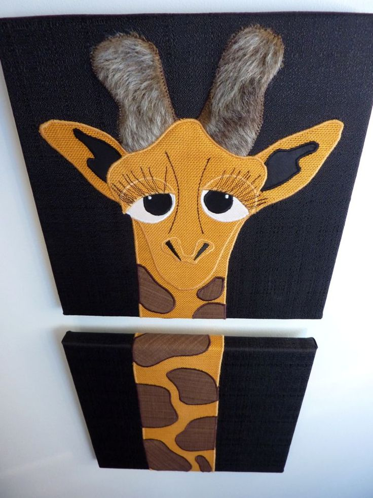 """Two piece giraffe wall art. 10""""x10""""each Appliqued with recycled fabrics..perfect for YOUR kid's bedroom wall! www.facebook.com/allison.whonewcreations"""