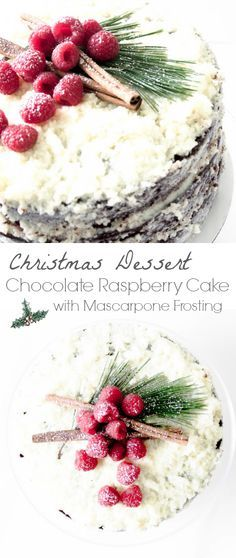 Chocolate cake with raspberry filling and mascarpone frosting. A festive cake for the holidays! via MonPetitFour.com