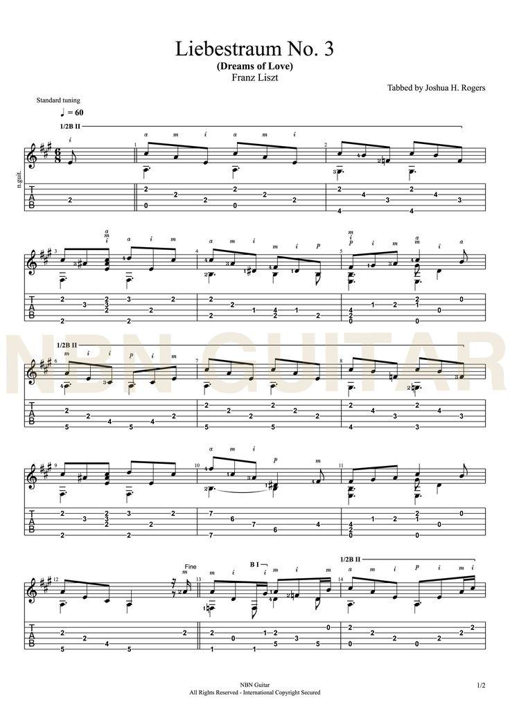Liebestraum no 3 - Franz Liszt (Sheet Music & Tabs)