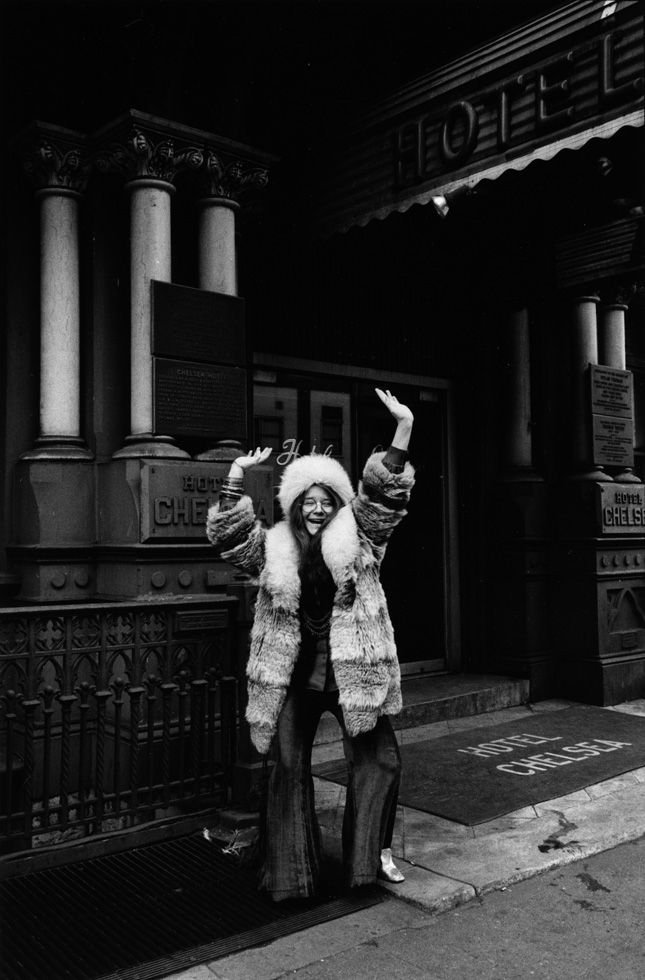 Janis Joplin in March 1969 in front of the Hotel Chelsea in New York City.  Copyright the David Gahr estate