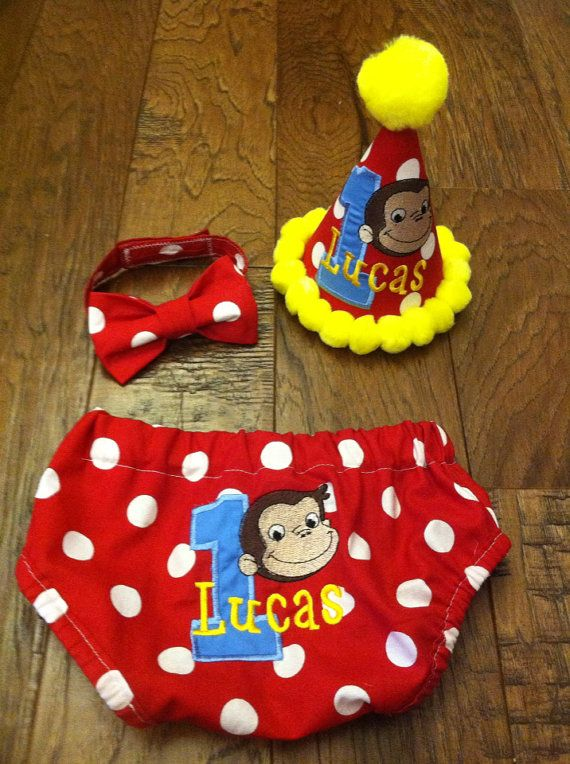 monogrammed curious george cake smash birthday set