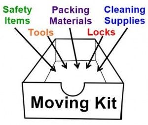 Moving Kit including safety items, tools, packing materials, locks, and cleaning supplies.