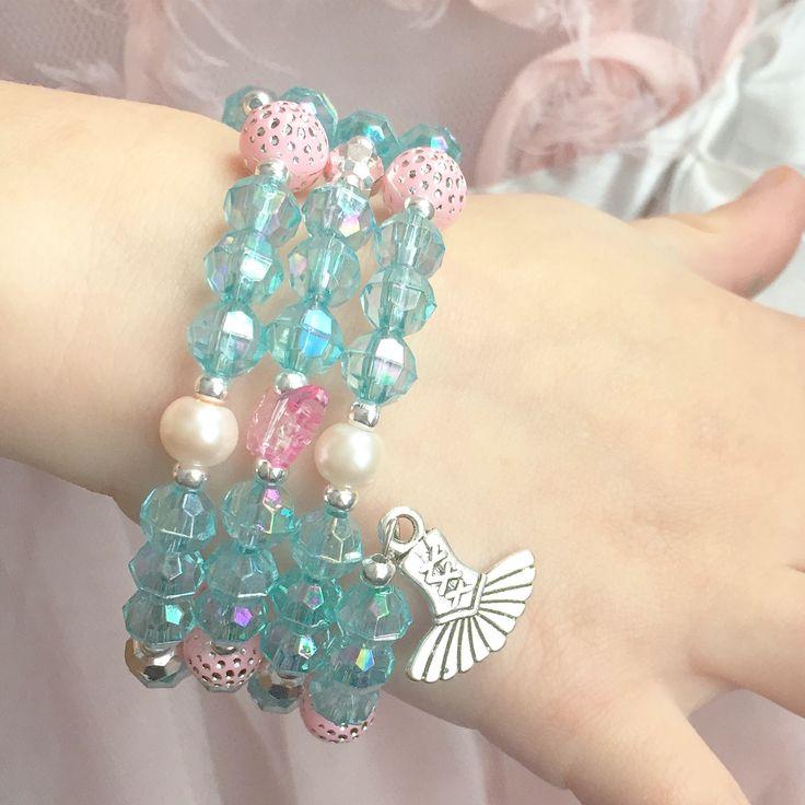 Pink and blue dance bracelet for girls.