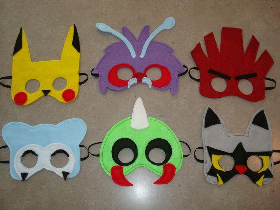 SET of 6 Pokémon Inspired Felt Masks  Halloween by StixandStitches, $75.00