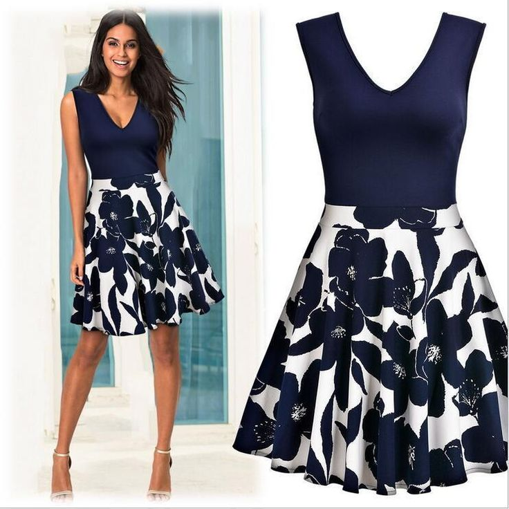 2017 Fashion Women's Dress V-Neck Printing Slim Sleeveless Swing Dress