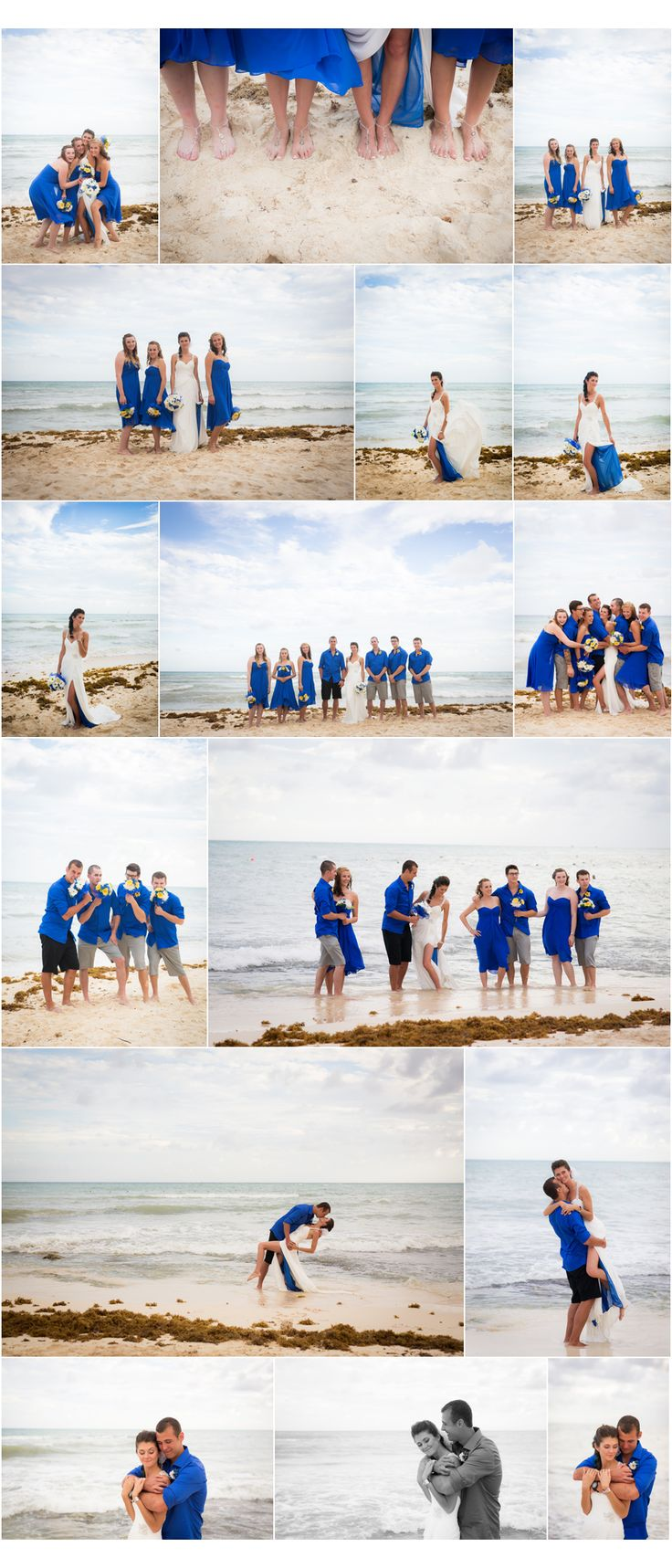 Sandos Caracol Eco Resort Wedding, Destination Wedding, Blue bridesmaid dresses, Fun Wedding Photos, Destination Wedding Photographer