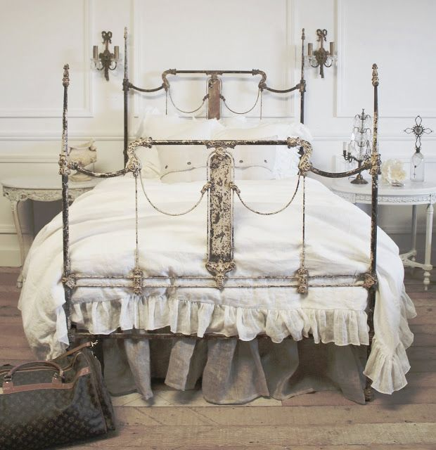 Iron Bed Full Part - 27: Full Bloom Cottage Antique French Scroll Iron Bed Antique French Iron Bed  Fits Full Size Bed Solid Heavy Wrought Iron Forged Iron Bed With Beautiful  Scrolls ...