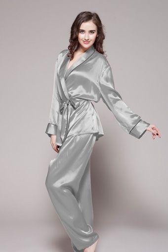 Contrast trim full-length silk pajama set for women  silk  pajama  women  362e3c5c8