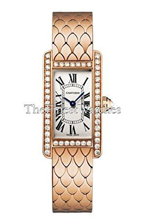 Cartier Ladies Tank Americaine Rose Gold with Diamond Case, Small Model - Small Cartier Tank Americaine watch, curved 18k pink gold case (35mm height, including lugs x 19mm width x 7mm thickness), case sides and crossbars set with one row of round brilliant diamonds, new style adjustable 18k pink gold bracelet, white dial with black Roman numerals, #157 Caliber quartz movement, octagonal crown set with a diamond, scratch-resistant sapphire crystal, water resistant to 30 meters. (affiliate…