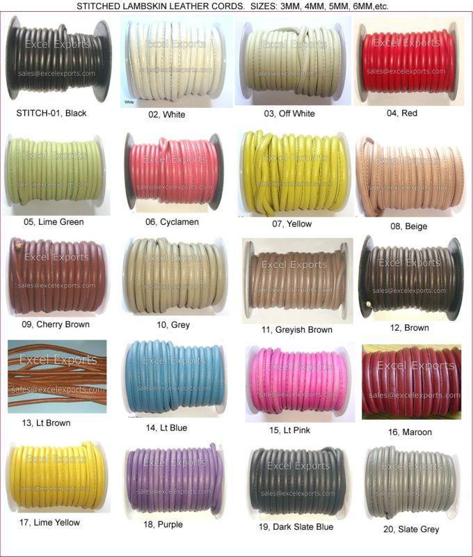 Сшитые кожаные шнуры 5 мм круглый Оптовая продажа, изготовление, производство
