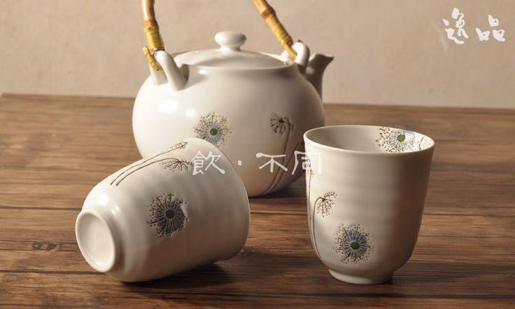 Chegada nova! Jogo de chá cerâmico, chá japonês copos, grande capacidade de transporte teapot+free