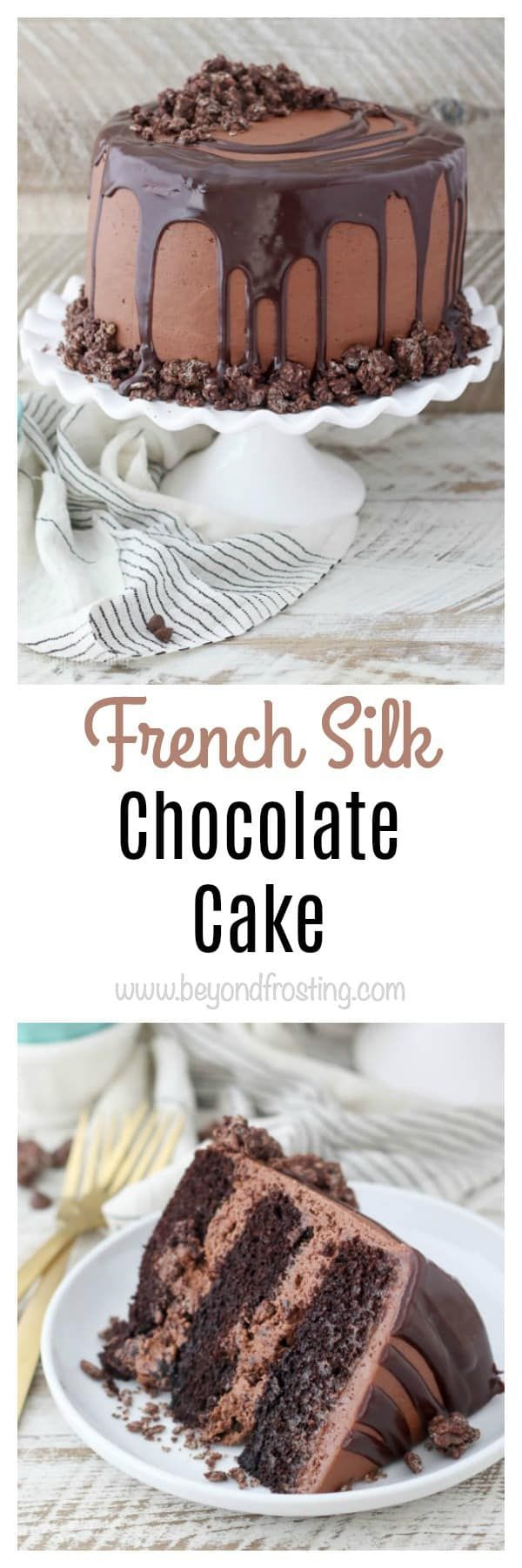 Sink your teeth into this French Silk Chocolate Cake. A moist chocolate cake with a French Silk chocolate frosting and a crunchy chocolate filling.