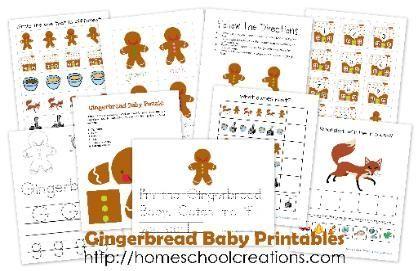 Free Gingerbread Baby Preschool Printable Set from  Homeschool Creations