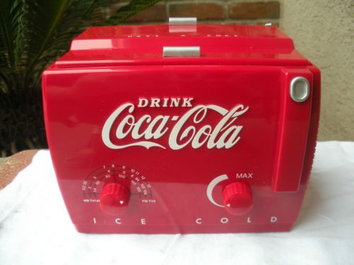 Vintage COCA COLA  Coke Cooler Radio #MC-194.  I have one of these.  It is like what the salesmen could earn when they sold so many big coolers like this model.