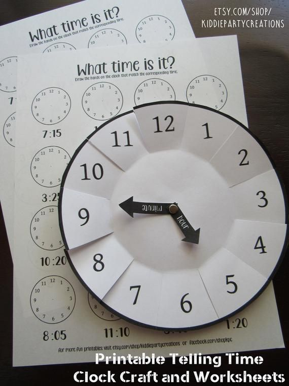 Learning To Tell Time Craft Printable Diy Preschool Etsy In 2020 Clock Template Learn To Tell Time Clock Worksheets