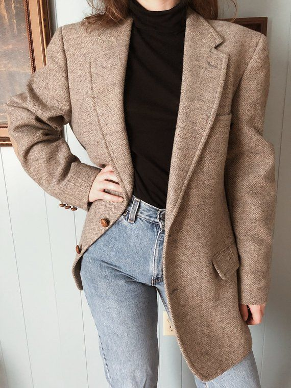 Wool Vintage Blazer With Elbow Patches Collegiate Professor Vintage Blazer Oversized Blazer Blazer Buy