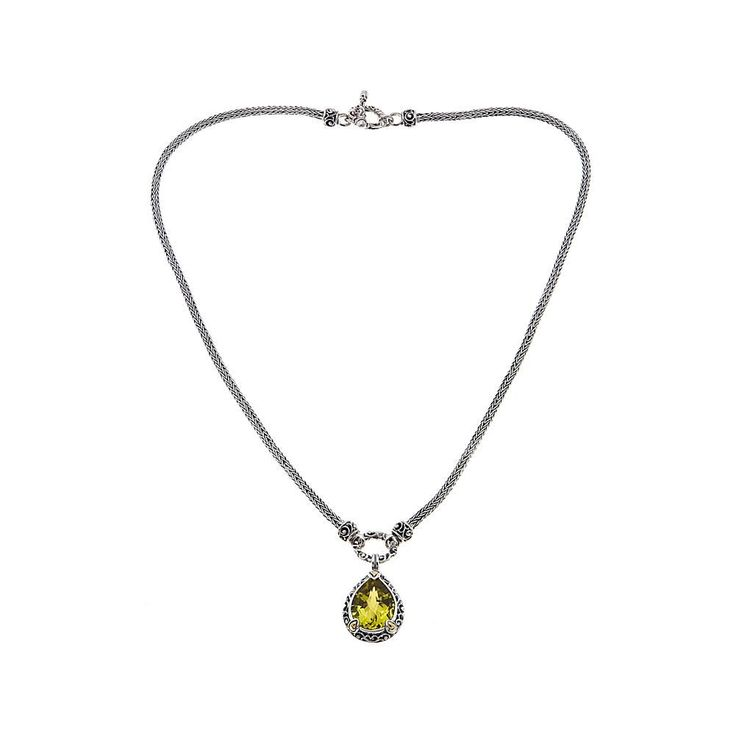 "Bali Designs by Robert Manse 6.17ct Lemon Quartz 2-Tone Pear 18"" Necklace"