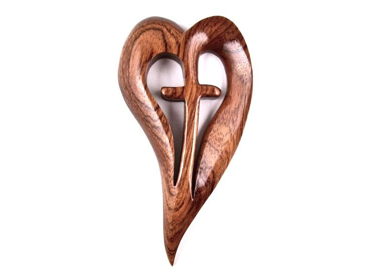 Wooden Wall Cross, Wood Wall Cross, Hand Carved Wooden Heart, 5th Anniversary Gift, Wedding Gift, Hanging Wall Cross, Christian Decor by GatewayAlpha on Etsy