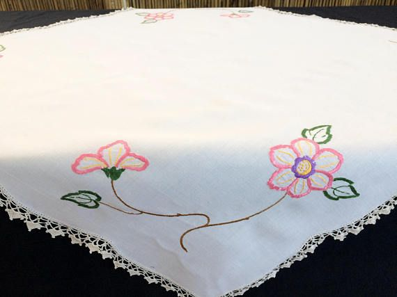 Embroidered Tablecloth. Vintage Square Tablecloth. Pink Floral Embroidered White Linen Tablecloth with Ivory Crochet Lace Border RBT1767