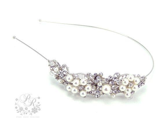Wedding Hair band Rhinestone Swarovski Pearl and Crystal Flowers Bridal tiara Wedding Jewelry Hair Accessory headband lily on Etsy, $48.00
