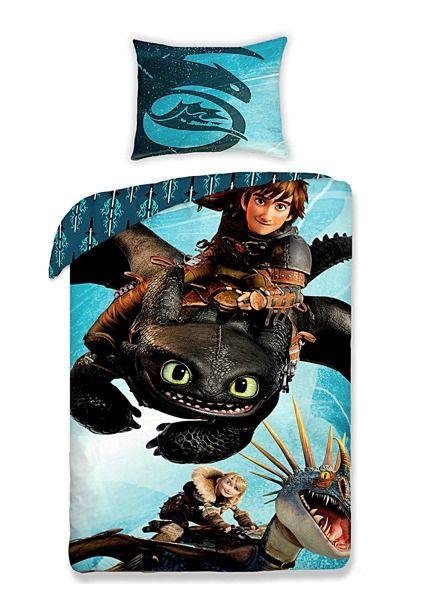 Modré posteľné obliečky s motívom draka