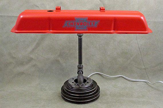 Cheverolet V8 Valve Cover Desk Lamp by Rallsautodecor on Etsy