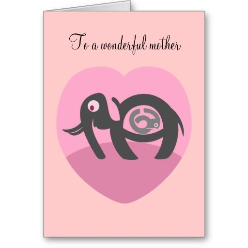 "Elephant with calf Valentines Day card     A valentines day card for the mother of your children or maybe for your kids to give to their mom. This pink card features a stylized elephant pregnant with a calf. ""To a wonderful mother"", ""I love you! ""Happy Valentines Day.    Created By mailboxdisco"