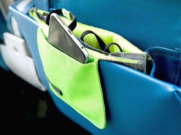 This seatback pocket organizer, discovered by The Grommet, makes it easy to keep your belongings on-hand and organized during a flight.