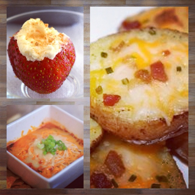 Cheesecake-filled strawberries, refried bean and cheese dip, and bacon/cheddar potato rounds. #memorialdaybbq2012 #chicago