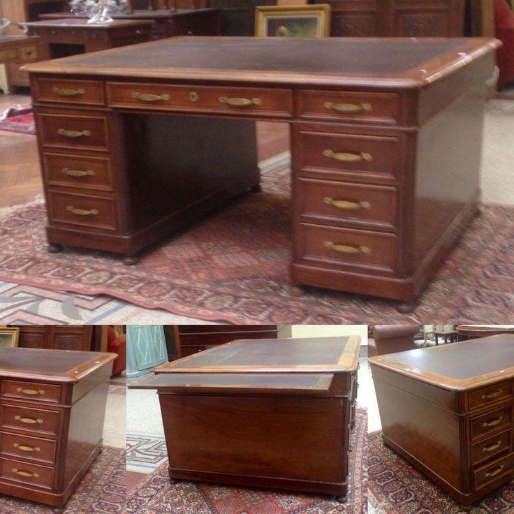 Bureau caissons double face tirrettes en placage acajou cuir xix si cle decoration - Bureau classique ...