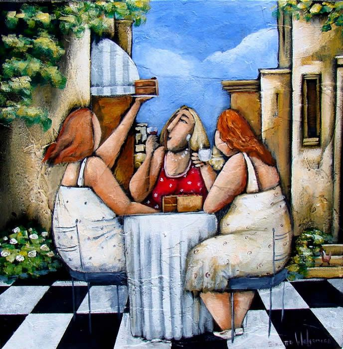 Painting by Elzette Welgemoed - Here's to friends
