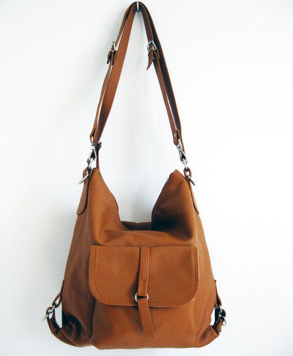 LEATHER BACKPACK PURSE Multi Way Rucksack Tote Bag Camel Brown Leather  Shoulder Bag Women s Handbag 0a9e30eed6b3b