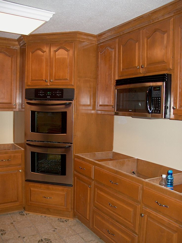 Corner oven leave microwave where it is put drop in for Double kitchen cabinets