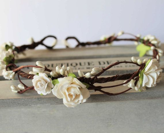 Ivory Rose and Pearl Pip Berry Floral Crown Halo Flower Girl Bridesmaid Garland Boho Wedding