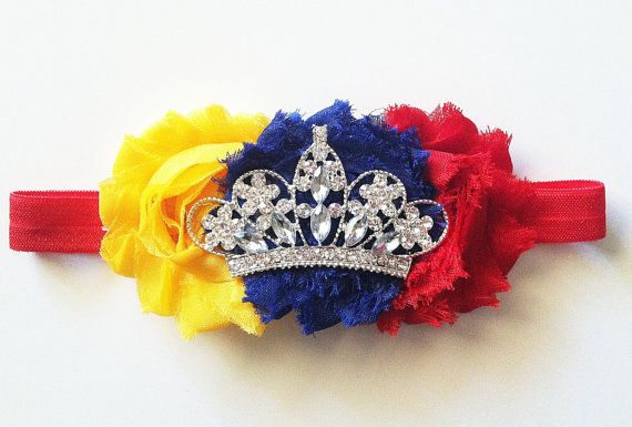 Snow White Disney Princess inspired baby headband with shabby flowers and gorgeous princess tiara crown on Etsy, $13.50