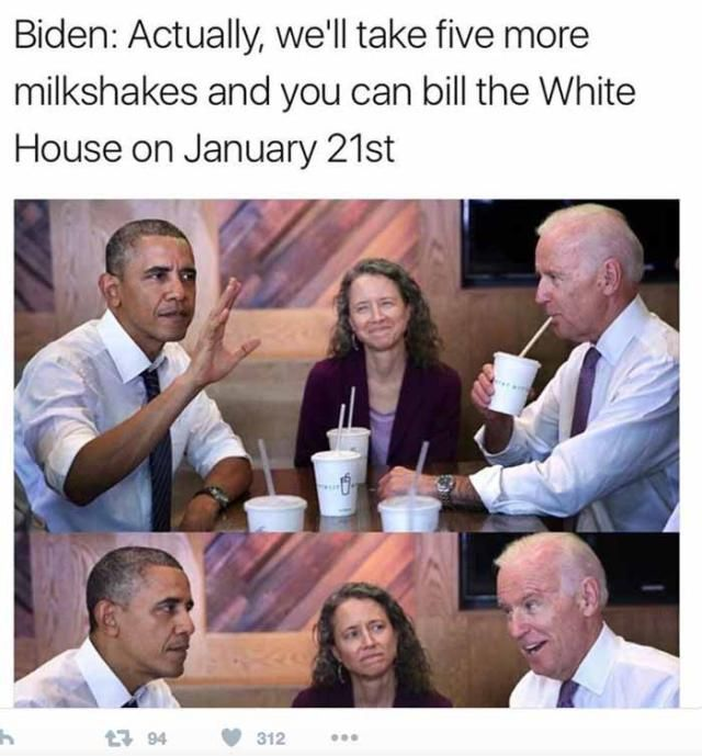 A roundup of the best memes showing Barack Obama and Joe Biden's imagined conversations about pranking Donald Trump.: Five More Milkshakes