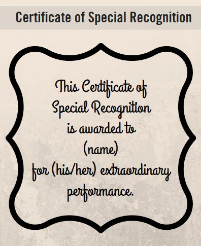 Examples of certificate of recognition border free printable certificate wording for healthcare examples of wording for special recognition appreciation and more yelopaper Image collections