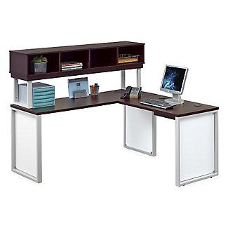 Glass Panel Compact L Desk With Hutch 66 Glass Panels