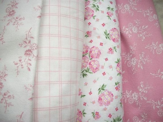 french country fabrics   Bundle of Vintage French Country Fabric Pink Summer Sprigged and ...