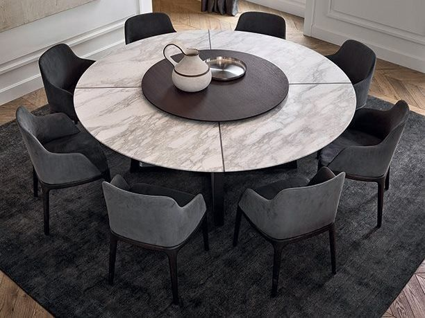 Round Marble Table With Lazy Susan Concorde Marble Table By