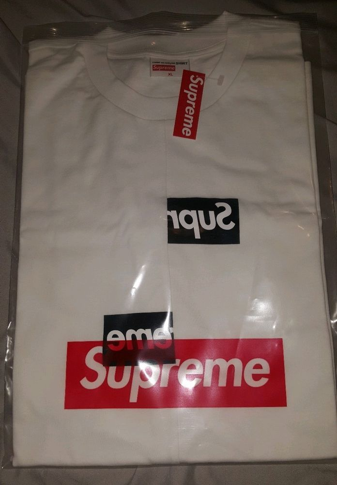 ec6cdf8f Supreme Comme Des Garcons Shirt Split Box Logo Tee White XL FW18 In Hand # Supreme #BoxLogotee