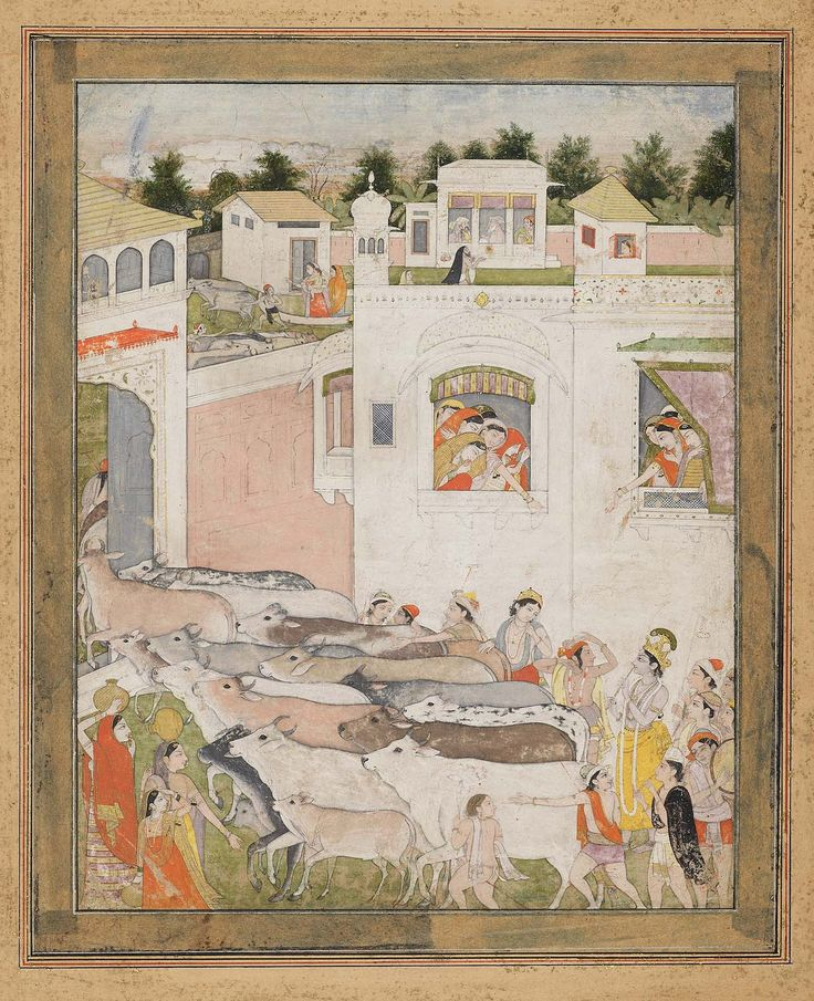 The Hour of Cowdust. Krsna ca. 1810. Kangra. by Nainsukh family. N. India.