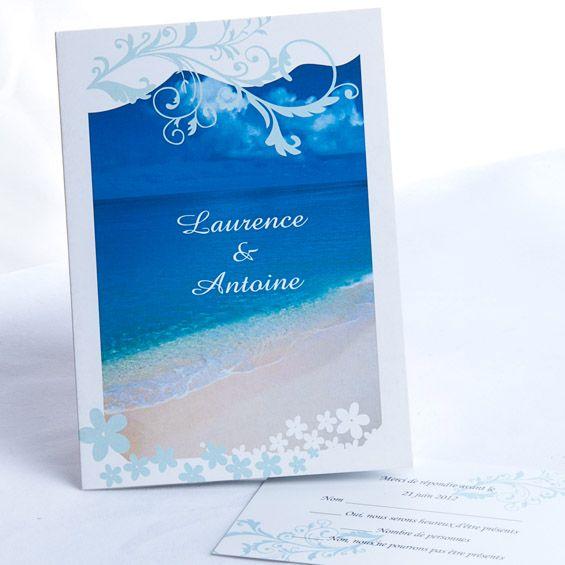 Herz der See und Spur des Strand Blau Hochzeit Einladungskarte p OPB015 Romantische Sommerhochzeit am Strand in Blau & Grün
