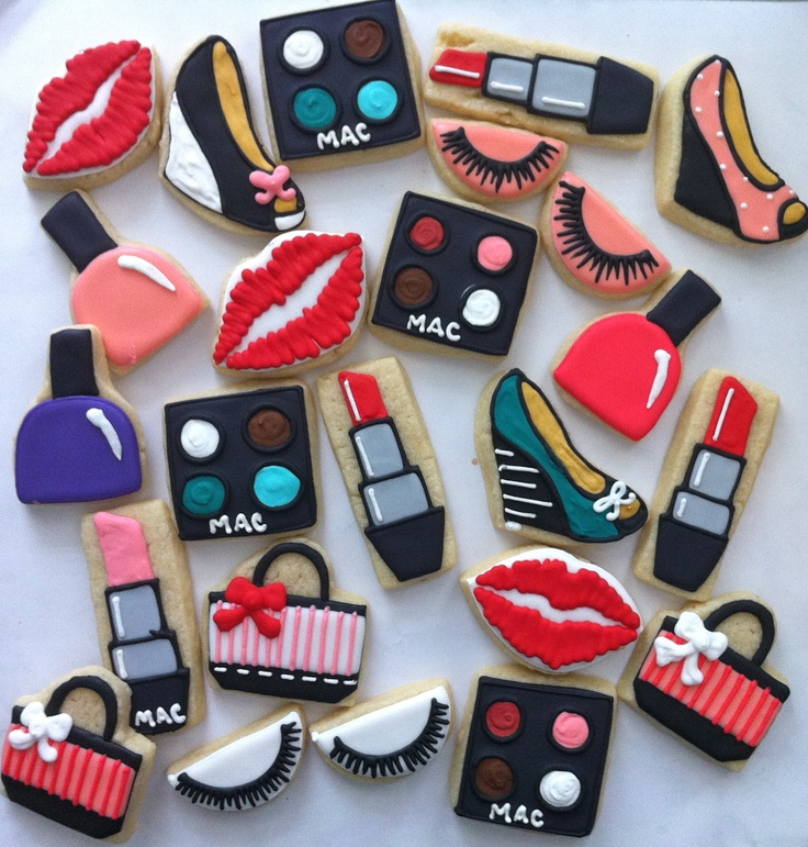 Mini Cosmetic Girly Cookies - have Wegmans use squares and circles to create eye shadow pallets, lip stick, etc.