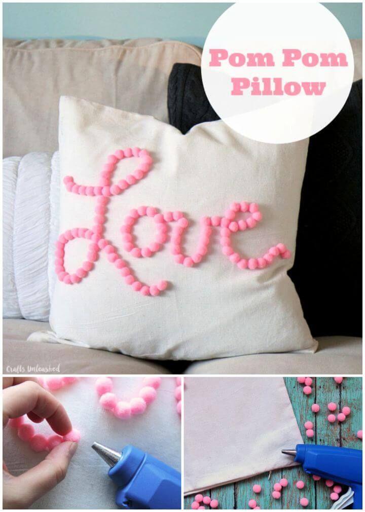 Easy Diy Pom Pom Pillow Tutorial Throw Pillow Covers Diy Diy