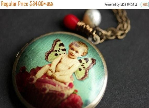 SUMMER SALE Baby Fairy Necklace. Rose Fairie Locket Necklace. Turquoise and Red Necklace with Red Coral Teardrop and Fresh Water Pearl. by TheTeardropShop from The Teardrop Shop. Find it now at https://ift.tt/293oEKC!