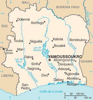 Carte de la Côte d'Ivoire ◆Côte d'Ivoire — Wikipédia https://fr.wikipedia.org/wiki/C%C3%B4te_d%27Ivoire #Ivory_Coast #Cote_d_Ivoire