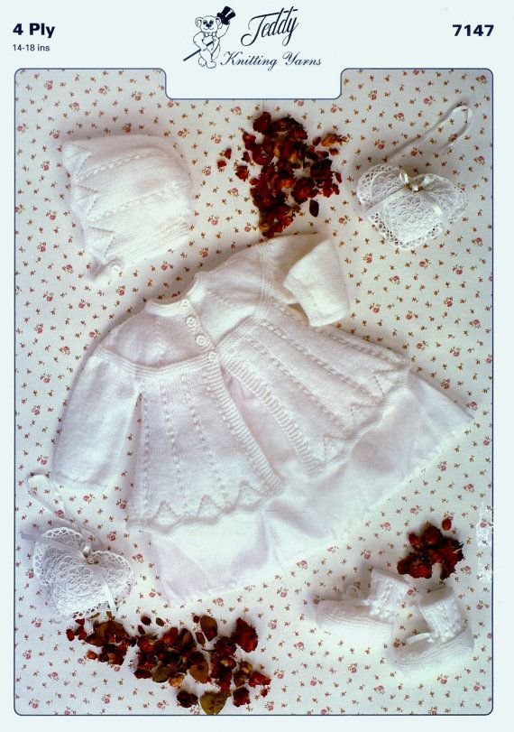 Baby 4ply Matinee Jacket hat & bootees 14-18 ins - PDF of Vintage Style Baby Knitting Patterns U.S. YARN EQUIVALENT Please check the