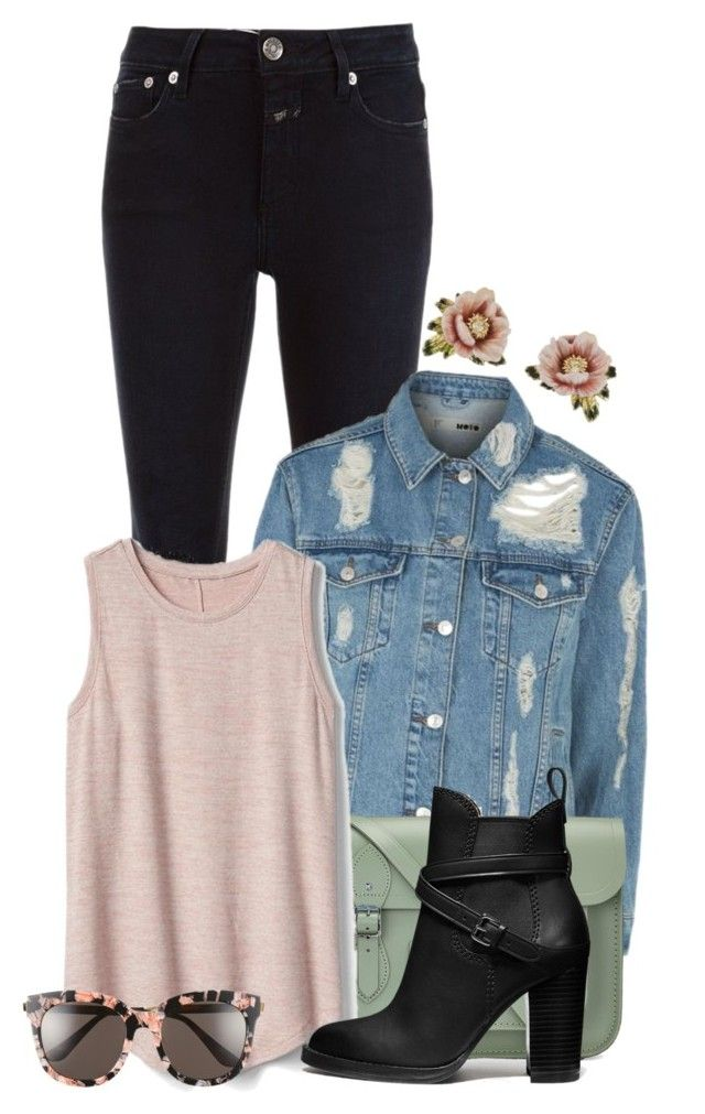 """""""2.16.2017"""" by charlizard ❤ liked on Polyvore featuring Closed, Topshop, The Cambridge Satchel Company, Gap, Coach, Les Néréides, Gentle Monster, denim, ankleboots and denimjackets"""
